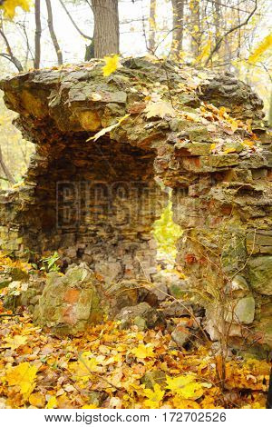 Old abandoned brick ruins in yellow autumn park at overcast day