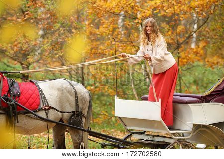 Happy woman holding reins in coach with horse in yellow autumn park