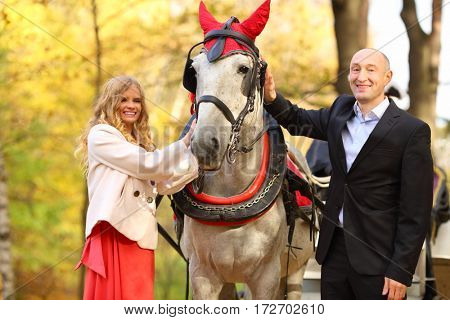 Happy couple stand with horse in red harness in yellow autumn park