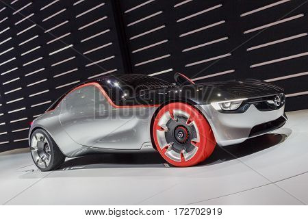 GENEVA, SWITZERLAND: CIRCA 2016: The Opel GT, a futuristic looking concept car