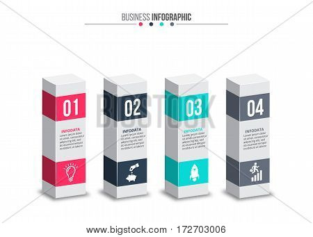 Business data visualization. Abstract elements of diagram with 4 steps, options, parts or processes. Vector business template for presentation. Creative concept for infographic. Process chart.