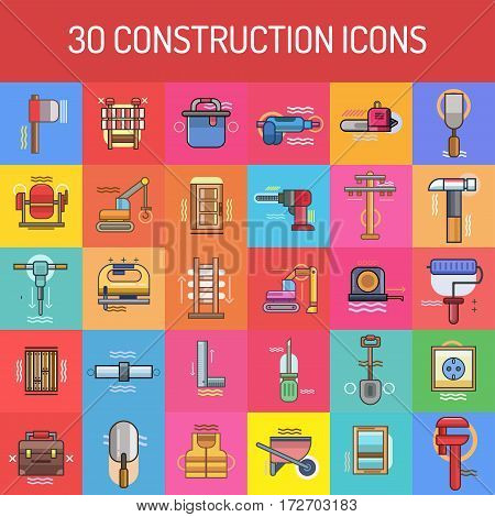 Construction Icon Set | Set of great flat icons with style filloutlines icon and use for construction, equipment, industry and much more.