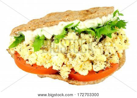Scrambled egg and salad flatbread sandwich isolated on a white background