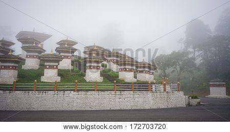 Memorial Chortens (stupas) At The Dochula, Bhutan
