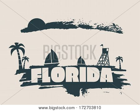 Vintage seaside view poster. Vector background. Palm and safeguard tower on the beach. Yacht in the ocean. Silhouettes on grunge brush stroke. Paintbrush cloudscape. Florida text