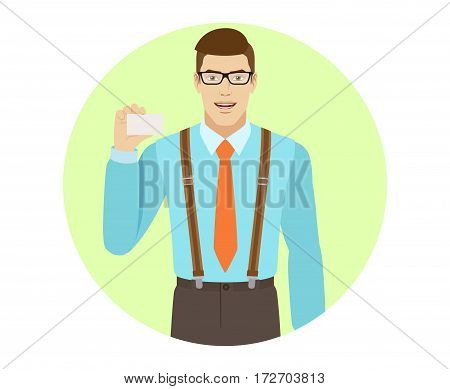 Businessman shows the business card. A man wearing a tie and suspenders. Portrait of businessman in a flat style. Vector illustration.