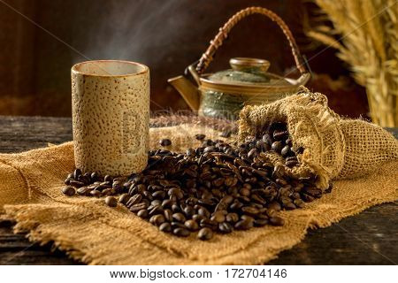 roasted coffee bean purifying from bag in still life style