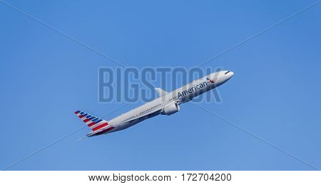 LONDON, UK - CIRCA 2015: Passenger Aircraft In American Airlines Livery. Boeing 777