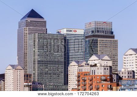 LONDON, UK - CIRCA 2015: Canary Wharf financial centre in London, home to some of the world biggest banks including HSBC and Barclays