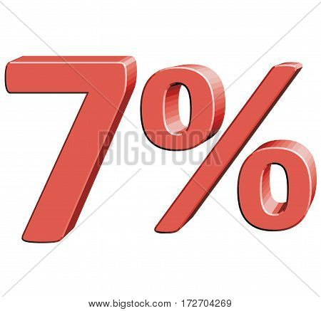 7% Vector illustration with 3D effect Percentage rate icon on a white background Seven percent Discount Tag Special Offer Label Sale Symbol