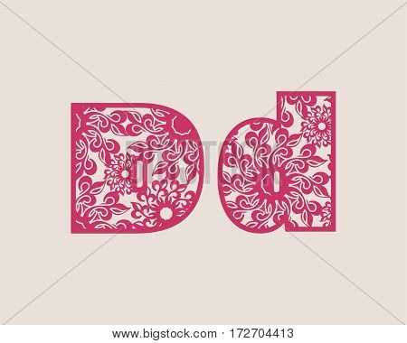 Decorative alphabet vector font. Letter D. Typography for headlines, posters, logos etc. Uppercase and lowercase symbols