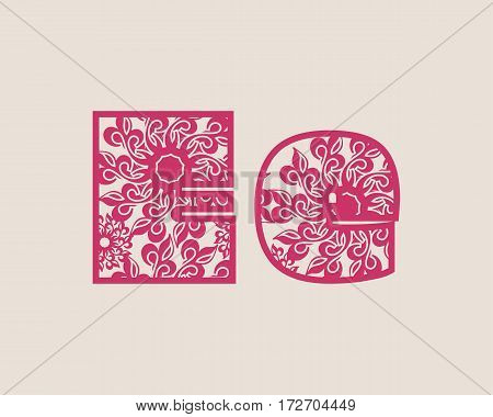 Decorative alphabet vector font. Letter E. Typography for headlines, posters, logos etc. Uppercase and lowercase symbols