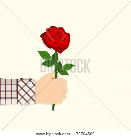 Man holding in hand red rose. Give flowers. Greeting card. vector illustration in flat design