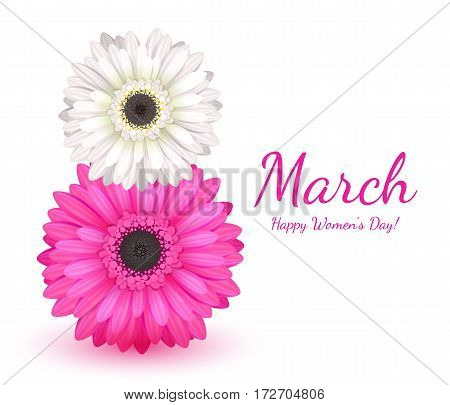8 march women's day background greeting card with gerbera flowers. International lady's holiday design template.