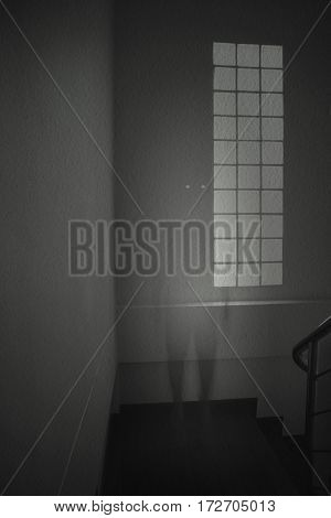 Ghost man in white dress appears in an old room