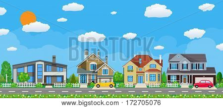 Private suburban houses with car, trees, road, sky and clouds. Village. Vector illustration in flat style