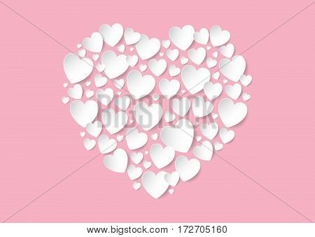 Valentines Day flat lay with white vector paper hearts on pink background. Love concept.