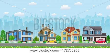 Private suburban houses with car, trees, road, sky and clouds. Cityscape. Vector illustration in flat style