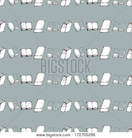 Seamless vector doodle pattern with rows of books. Library hand drawn sketchy background. Reading and education concept.