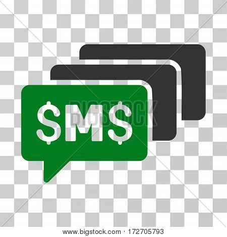 SMS Messages icon. Vector illustration style is flat iconic bicolor symbol green and gray colors transparent background. Designed for web and software interfaces.