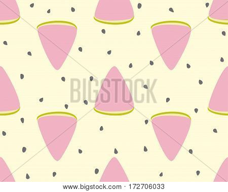 Slices of watermelon and seeds on a yellow background