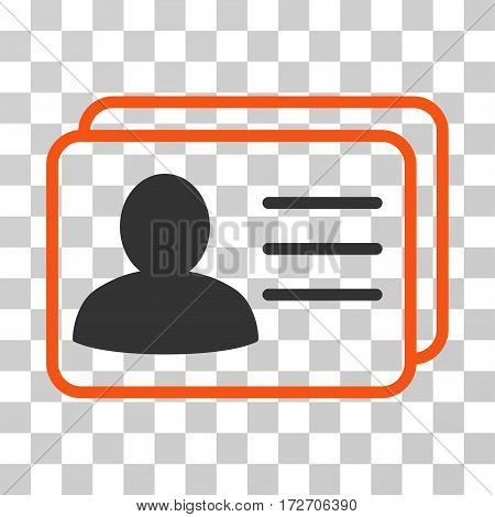 Account Cards icon. Vector illustration style is flat iconic bicolor symbol orange and gray colors transparent background. Designed for web and software interfaces.