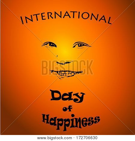 International Day of Happiness - vector concept illustration with smiley child on sunset background. For card, logo, badge, print, poster.