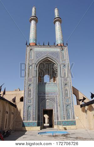 YAZD, IRAN - OCTOBER 9, 2016: Jame Mosque, one of the sights of Yazd on October 9, 2016 in Iran, Asia