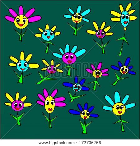 illustration of a bright green background large flowers with pink, yellow, blue petals and yellow and blue and pink heart and green stalk around the pattern with red smile and big eyes