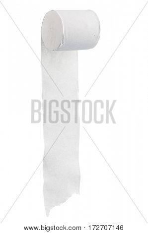 Single roll of toilet paper isolated on white background