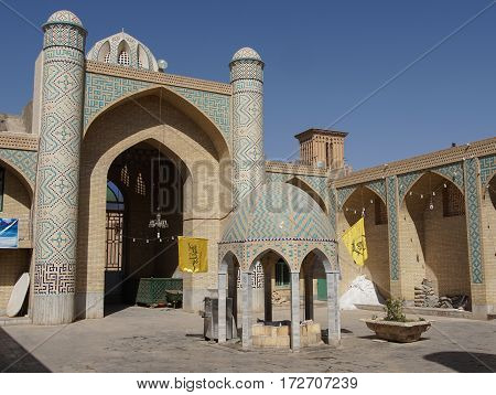 YAZD, IRAN - OCTOBER 9, 2016: Ismael Mosque, one of the sights of Yazd on October 9, 2016 in Iran, Asia