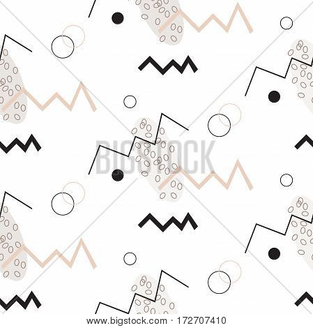Seamless pattern in Memphis style with black and beige geometric elements. Geometric abstract shapes. Memphis. Pop art trendy style 1980s. Minimal. Funky digital print. Vector design. Zigzags.