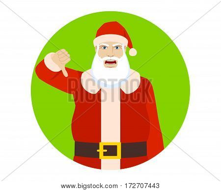 Santa Claus showing thumb down gesture as rejection symbol. Portrait of Santa Claus in a flat style. Vector illustration.