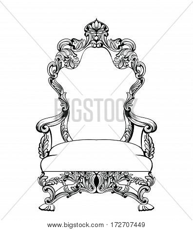 Exquisite Fabulous Imperial Baroque armchair engraved. Vector French Luxury rich intricate ornamented structure. Victorian Royal Style decoration