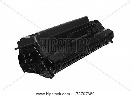 Black laser cartridge isolated on white background