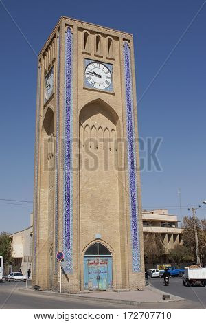 YAZD, IRAN - OCTOBER 9, 2016: Clock tower, one of the sights of Yazd on October 9, 2016 in Iran, Asia