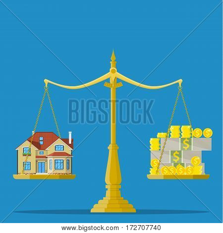 Scales with house and money. Real estate, rental, expense, liabilities and mortgage concept