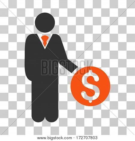 Banker icon. Vector illustration style is flat iconic bicolor symbol orange and gray colors transparent background. Designed for web and software interfaces.