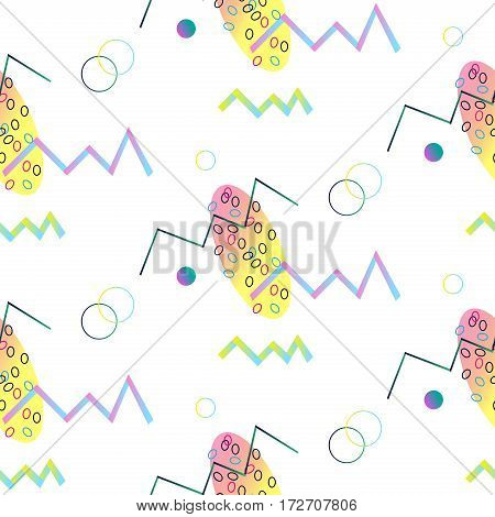 Seamless pattern in Memphis style with colorful geometric elements. Geometric abstract shapes. Memphis. Pop art trendy style 1980s. Minimal. Funky print. Vector design. Bright colors digital print.