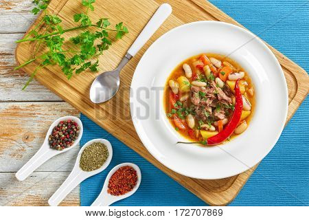 Boneless Oxtail Meat Soup With Root Vegetables