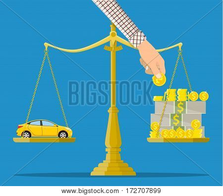 Scales with car and money. Buying a car. Vector illustration in flat style