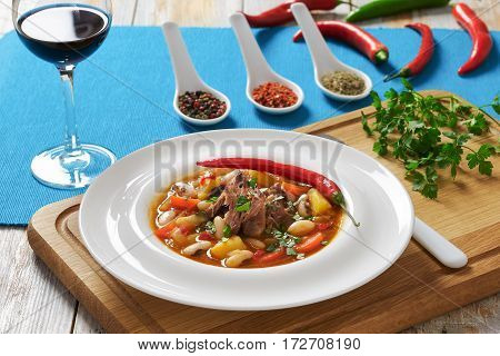 Beef Meat Stew With Vegetables, Potato, Red Wine