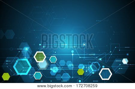 Vector illustration science innovation concept. Circuit board and hexagons or polygon background. Hi tech digital technology. Abstract futuristic hexagon shape on dark blue color background