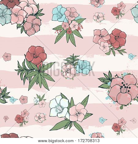 Vector gentle seamless pattern. Exotic pink and blue flowers on striped background. Floral wallpaper. Hand drawn illustration.