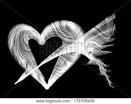 Heart Lovely Monochrome Background, Abstract Romantic Heart Textured Backdrop