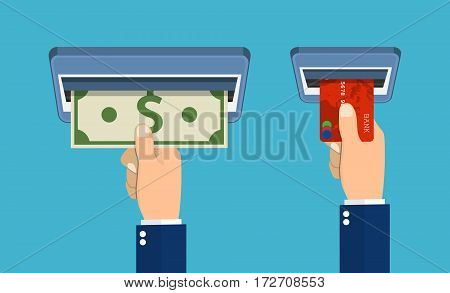 ATM terminal usage concept. Hand pushing credit card in to the atm machine slot and getting money bill from it. Flat design