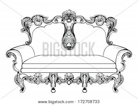 Exquisite Fabulous Imperial Baroque upholstery engraved. Vector French Luxury rich intricate ornamented structure. Victorian Royal Style decoration