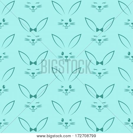 Seamless pattern with easter bunnies. Background for greeting card invitation wrapping. Vector Illustration