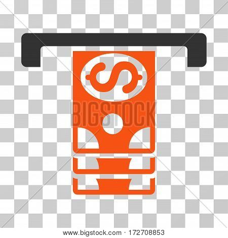 Banknotes Withdraw icon. Vector illustration style is flat iconic bicolor symbol orange and gray colors transparent background. Designed for web and software interfaces.