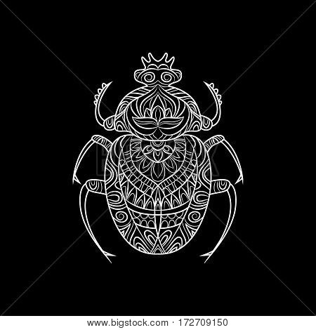 Insect with doodle pattern. Print on T-shirt.